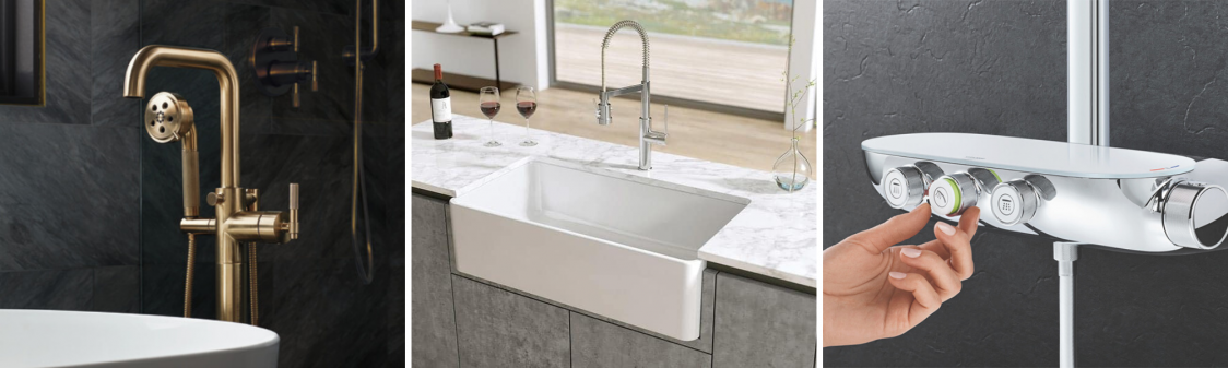 What to Know When Shopping for Your New Build or Renovation. Grohe SmartControl. Franke Fireclay White Sink. Brizo Litze Freestanding Tub Filler